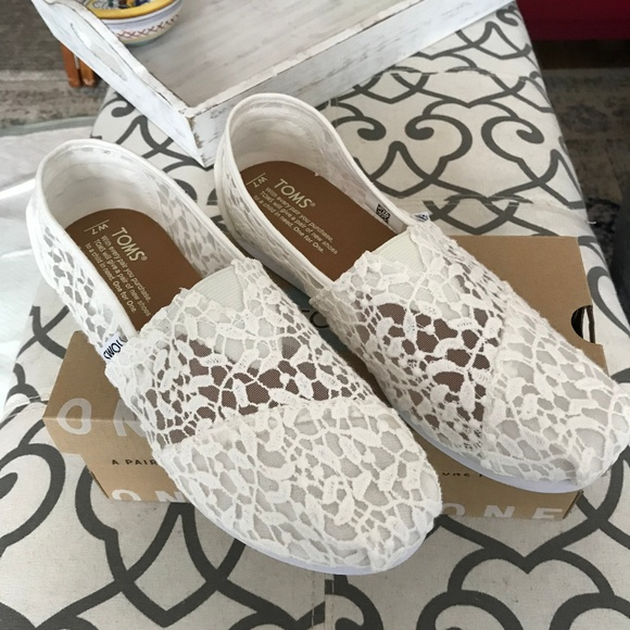 Toms Wedding Shoes White Lace Leaves